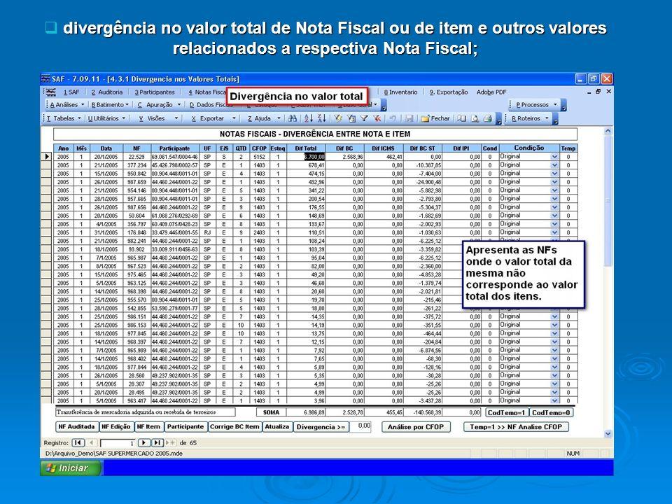 divergência no valor total de Nota Fiscal ou de item e outros valores relacionados a respectiva Nota Fiscal;