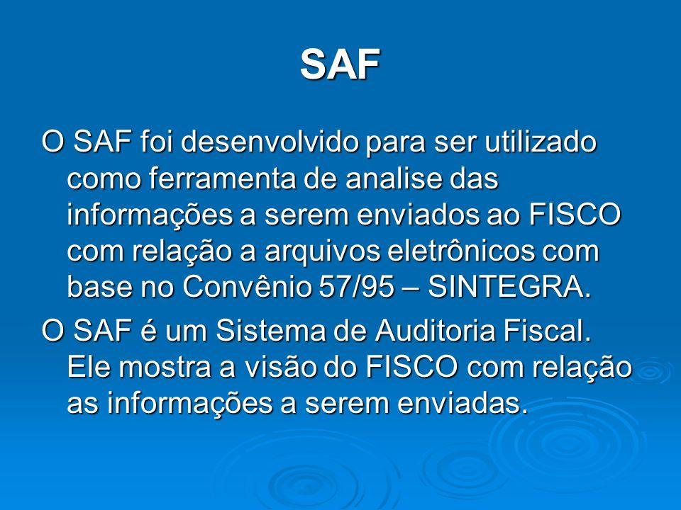 SAF O SAF foi desenvolvido para ser utilizado como ferramenta de analise das informações a serem enviados ao FISCO com relação a arquivos eletrônicos