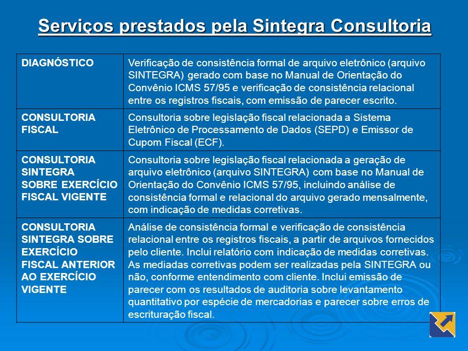 Serviços prestados pela Sintegra Consultoria DIAGNÓSTICOVerificação de consistência formal de arquivo eletrônico (arquivo SINTEGRA) gerado com base no