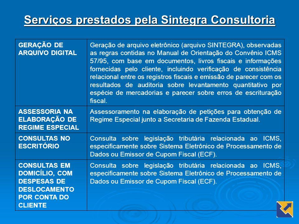 Serviços prestados pela Sintegra Consultoria GERAÇÃO DE ARQUIVO DIGITAL Geração de arquivo eletrônico (arquivo SINTEGRA), observadas as regras contida