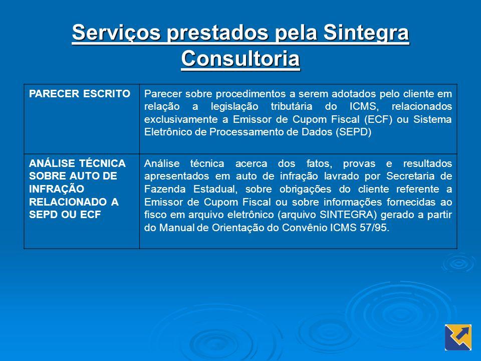 Serviços prestados pela Sintegra Consultoria PARECER ESCRITOParecer sobre procedimentos a serem adotados pelo cliente em relação a legislação tributár