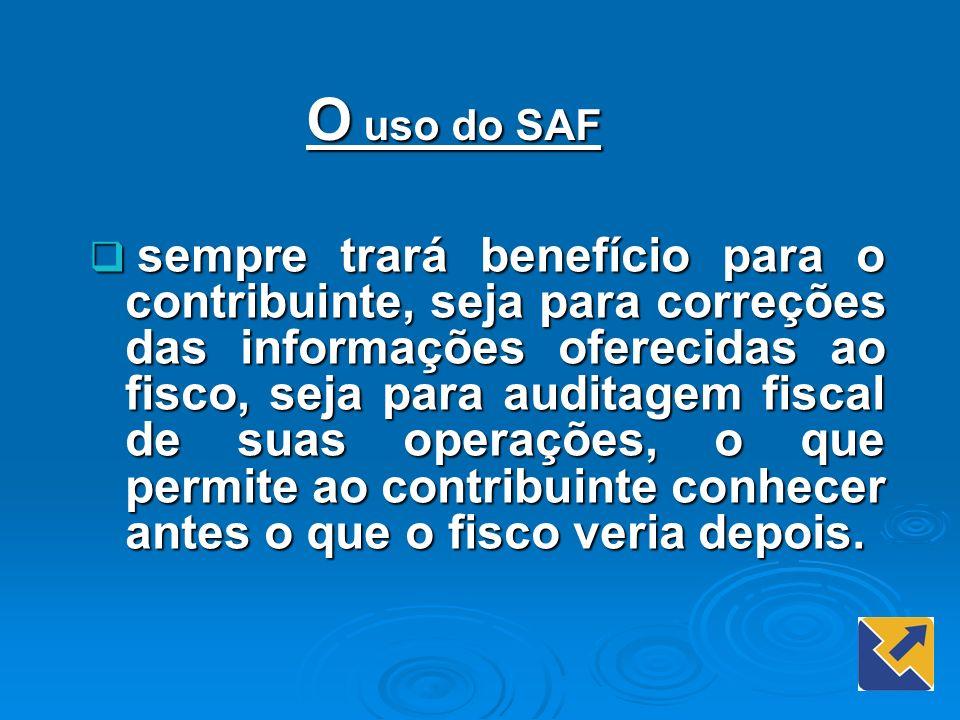 O uso do SAF sempre trará benefício para o contribuinte, seja para correções das informações oferecidas ao fisco, seja para auditagem fiscal de suas o