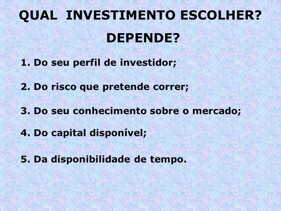 QUAL INVESTIMENTO ESCOLHER? DEPENDE? 1. Do seu perfil de investidor; 4. Do capital disponível; 3. Do seu conhecimento sobre o mercado; 2. Do risco que