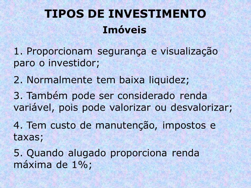 TIPOS DE INVESTIMENTO Imóveis 1. Proporcionam segurança e visualização paro o investidor; 2. Normalmente tem baixa liquidez; 3. Também pode ser consid