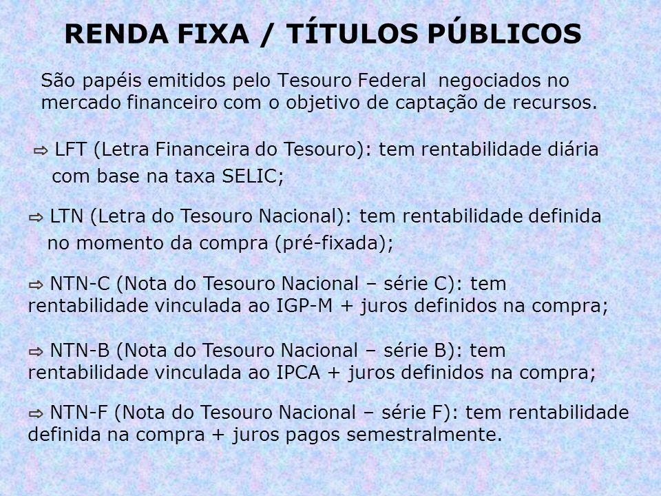 RENDA FIXA / TÍTULOS PÚBLICOS São papéis emitidos pelo Tesouro Federal negociados no mercado financeiro com o objetivo de captação de recursos. LFT (L