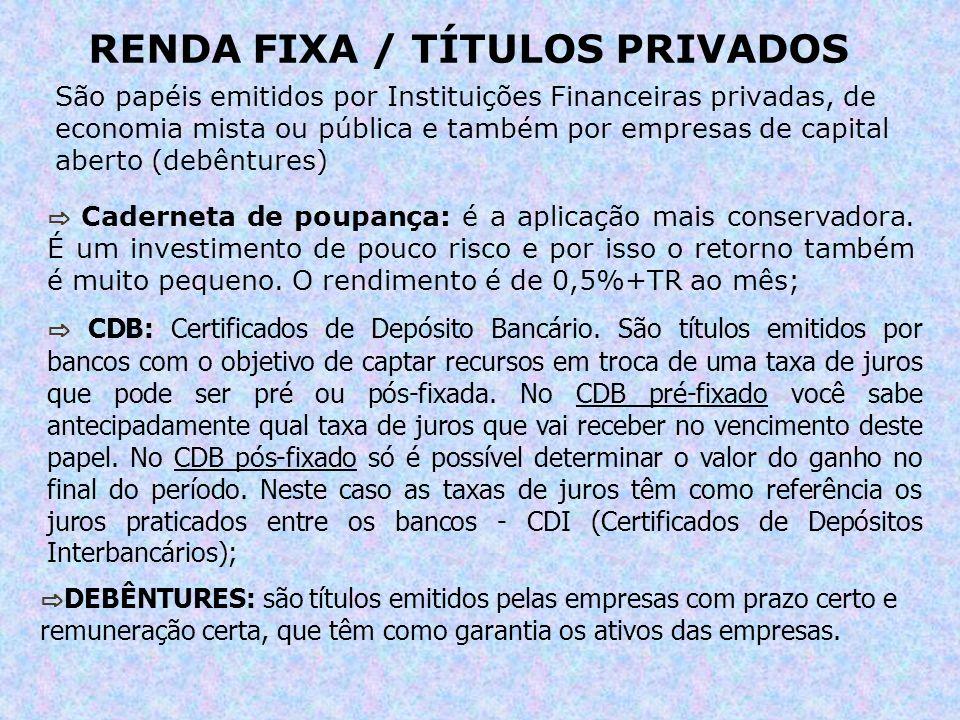 RENDA FIXA / TÍTULOS PRIVADOS São papéis emitidos por Instituições Financeiras privadas, de economia mista ou pública e também por empresas de capital