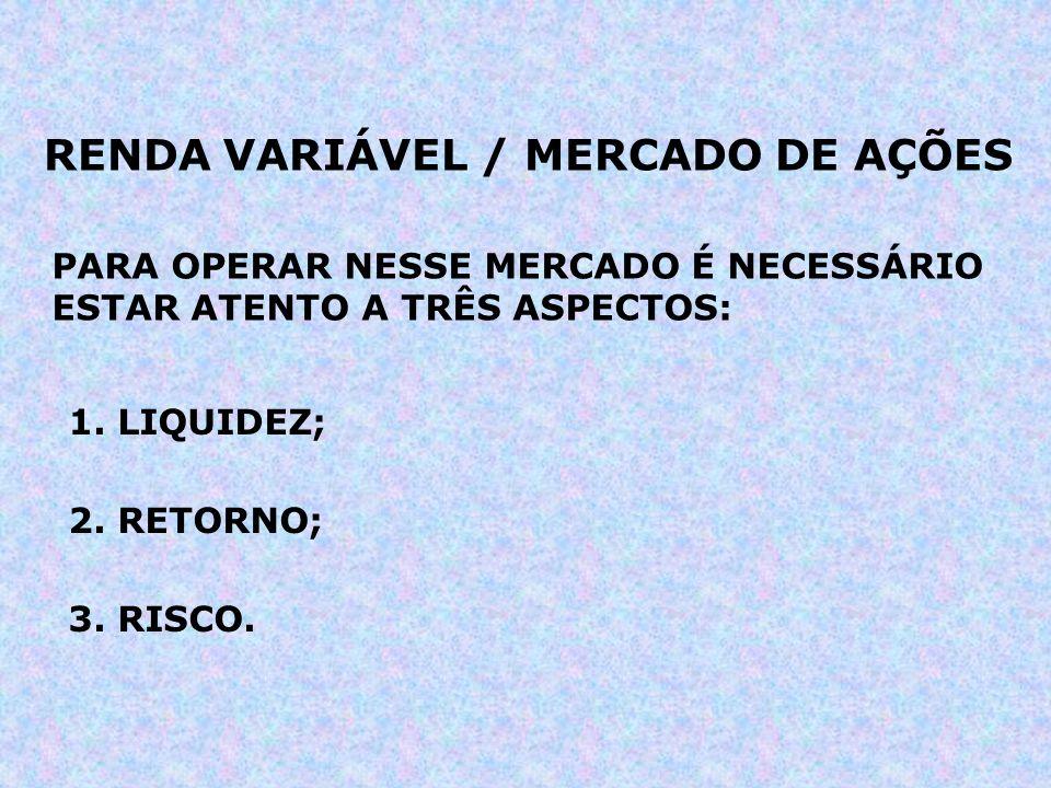 RENDA VARIÁVEL / MERCADO DE AÇÕES PARA OPERAR NESSE MERCADO É NECESSÁRIO ESTAR ATENTO A TRÊS ASPECTOS: 1. LIQUIDEZ; 2. RETORNO; 3. RISCO.