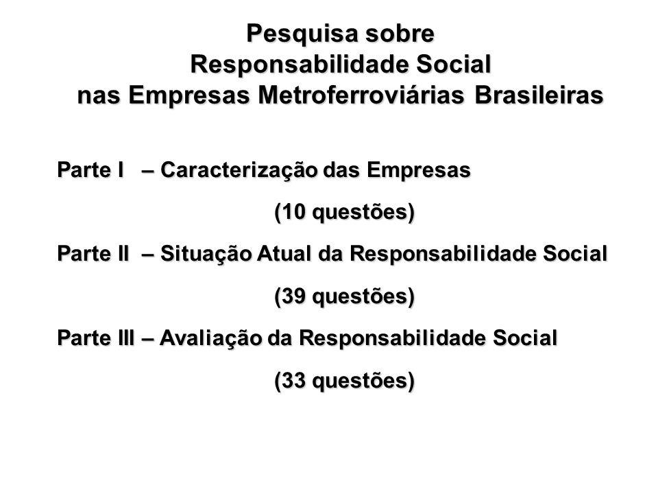 Pesquisa sobre Responsabilidade Social nas Empresas Metroferroviárias Brasileiras Parte I – Caracterização das Empresas (10 questões) Parte II – Situa