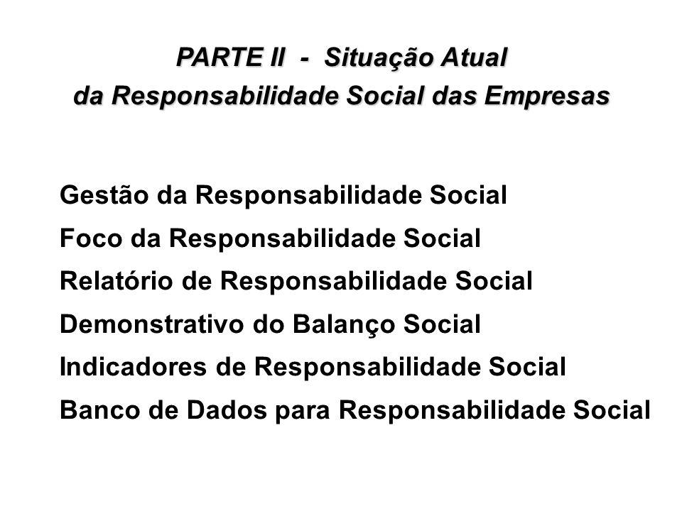 PARTE II - Situação Atual da Responsabilidade Social das Empresas Gestão da Responsabilidade Social Foco da Responsabilidade Social Relatório de Respo