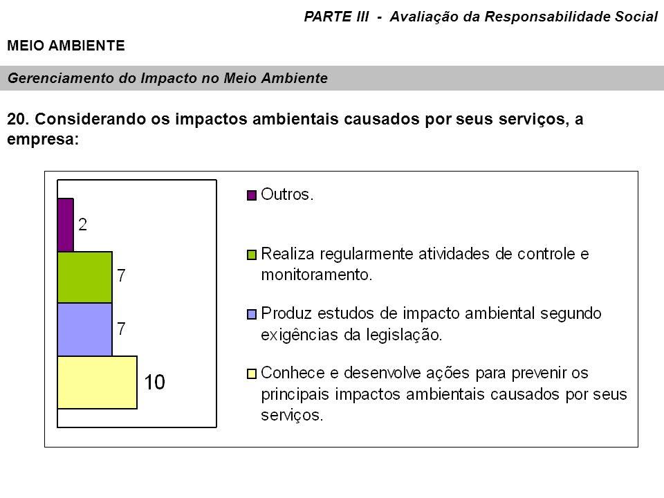 Gerenciamento do Impacto no Meio Ambiente 20. Considerando os impactos ambientais causados por seus serviços, a empresa: PARTE III - Avaliação da Resp