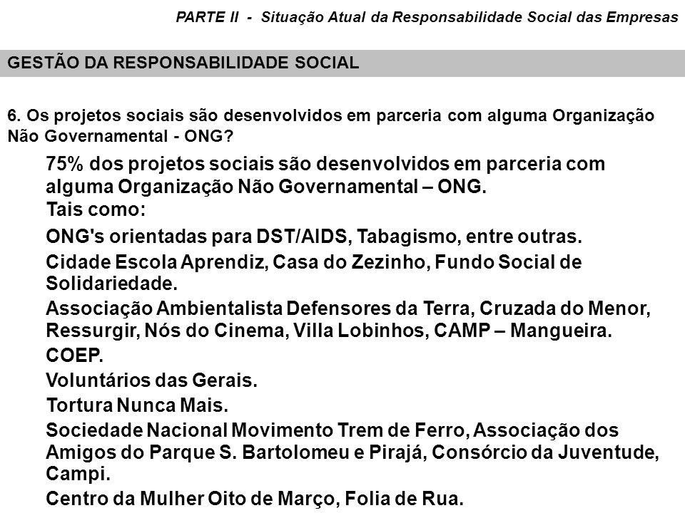 6. Os projetos sociais são desenvolvidos em parceria com alguma Organização Não Governamental - ONG? 75% dos projetos sociais são desenvolvidos em par