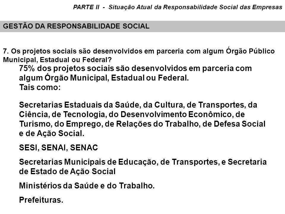 7. Os projetos sociais são desenvolvidos em parceria com algum Órgão Público Municipal, Estadual ou Federal? Secretarias Estaduais da Saúde, da Cultur