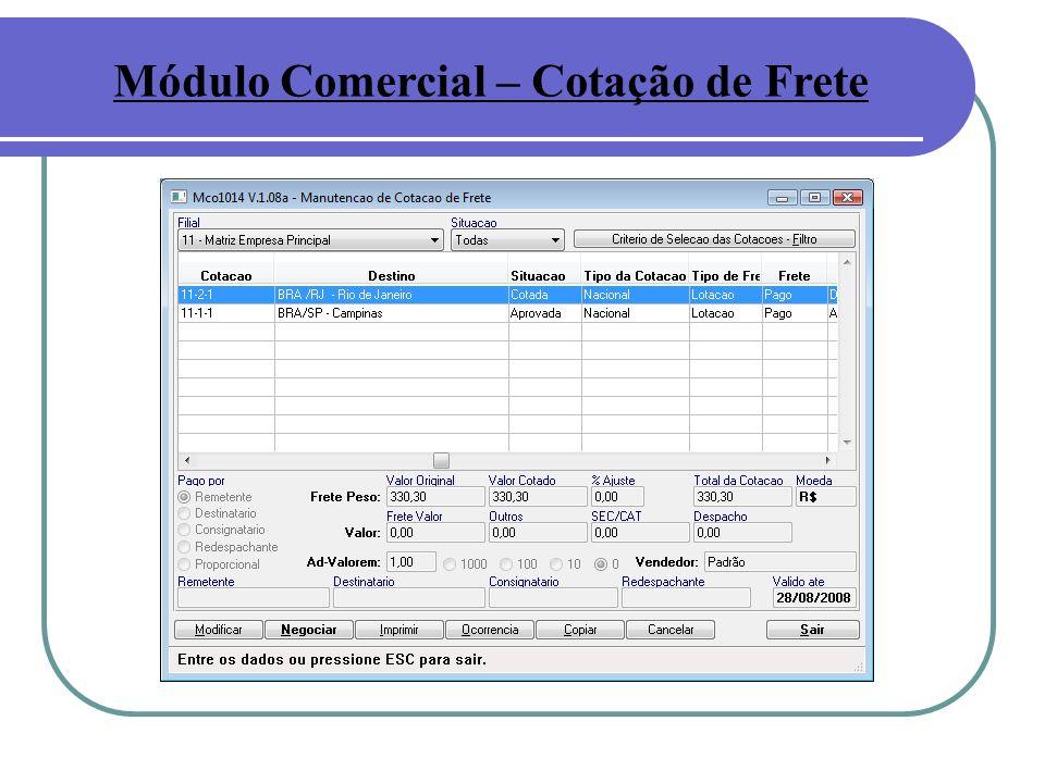 Módulo Comercial – Cotação de Frete
