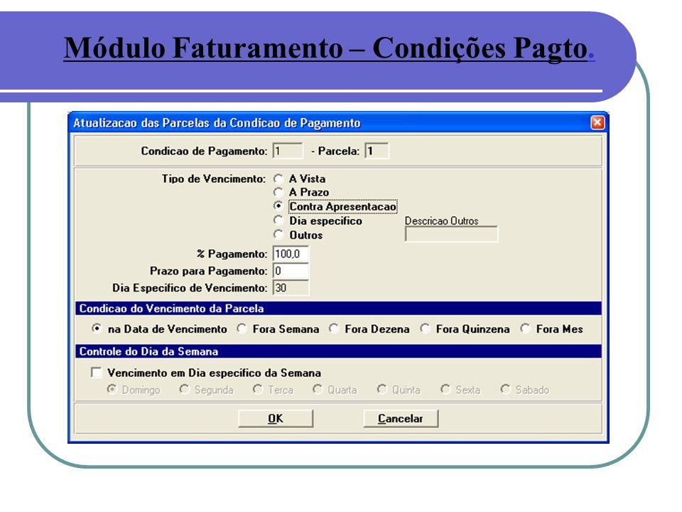 Módulo Faturamento – Condições Pagto.