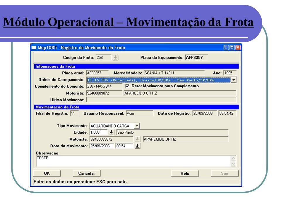 Módulo Operacional – Movimentação da Frota