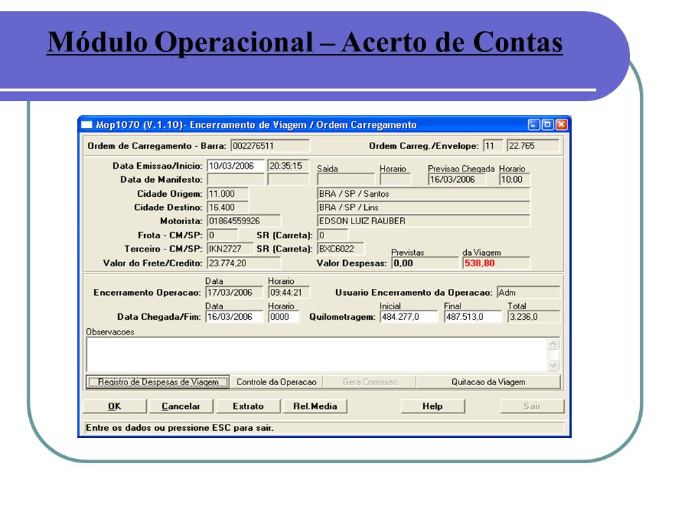 Módulo Operacional – Acerto de Contas