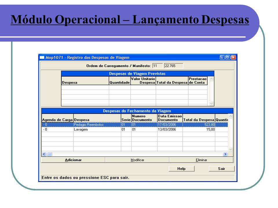 Módulo Operacional – Lançamento Despesas