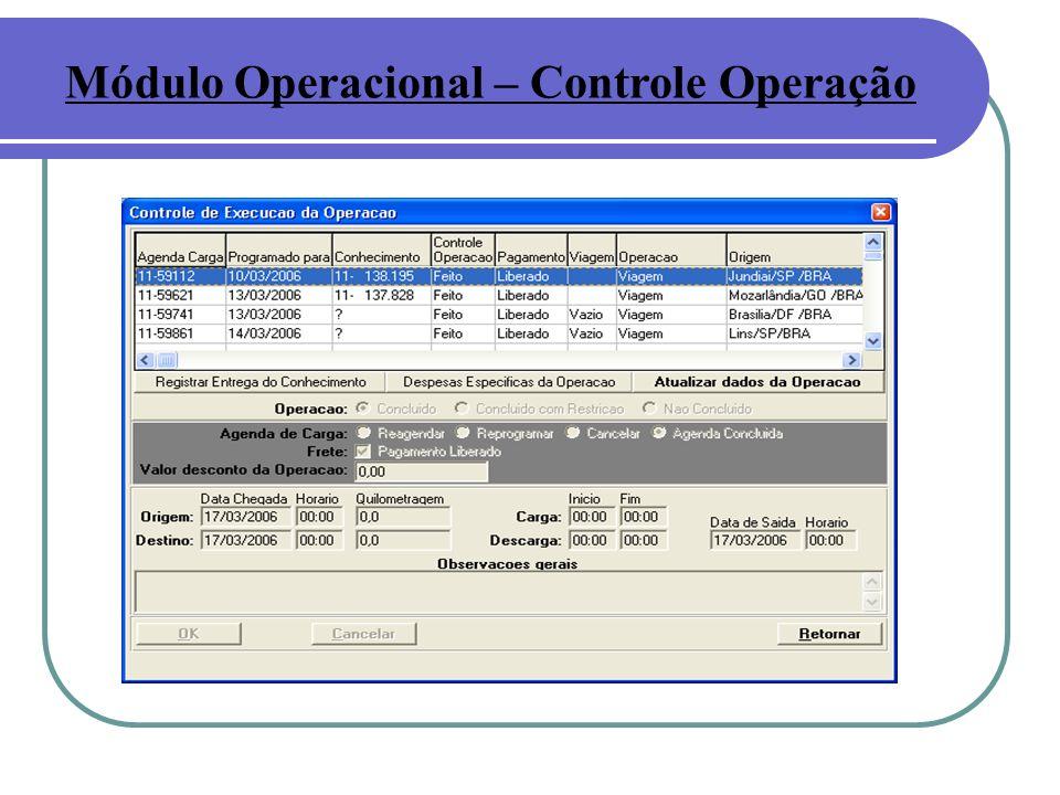 Módulo Operacional – Controle Operação