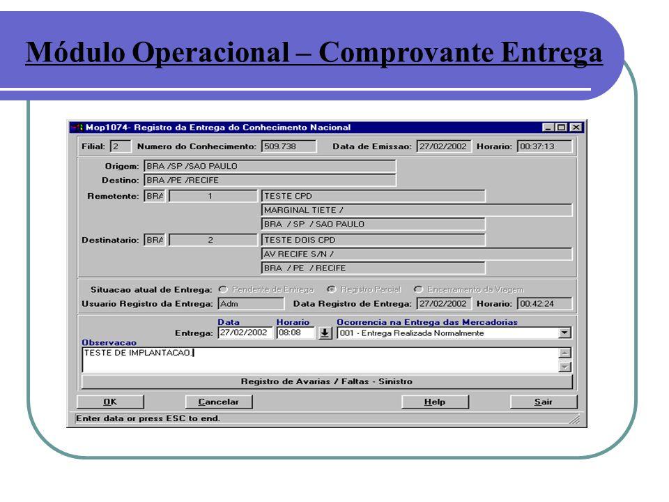 Módulo Operacional – Comprovante Entrega