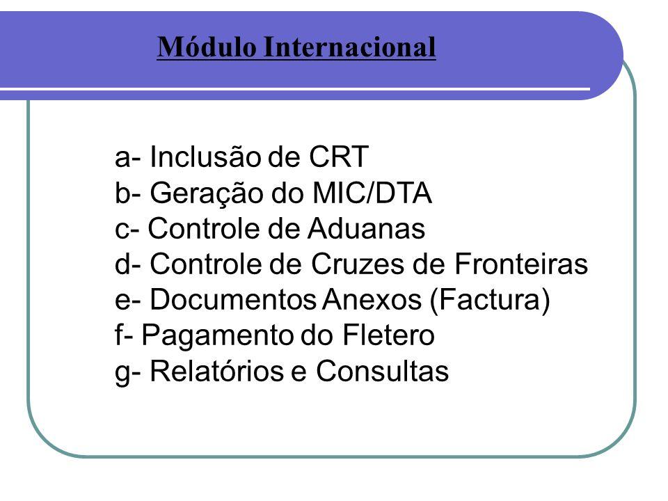 a- Inclusão de CRT b- Geração do MIC/DTA c- Controle de Aduanas d- Controle de Cruzes de Fronteiras e- Documentos Anexos (Factura) f- Pagamento do Fletero g- Relatórios e Consultas Módulo Internacional