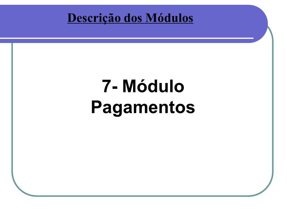 7- Módulo Pagamentos Descrição dos Módulos