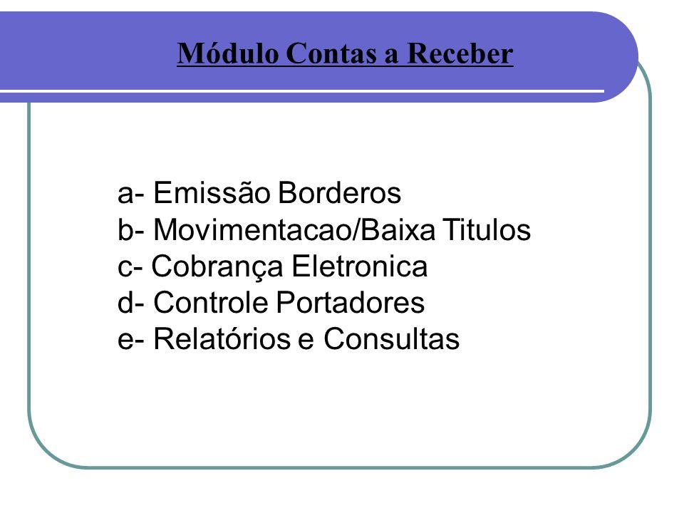 a- Emissão Borderos b- Movimentacao/Baixa Titulos c- Cobrança Eletronica d- Controle Portadores e- Relatórios e Consultas Módulo Contas a Receber