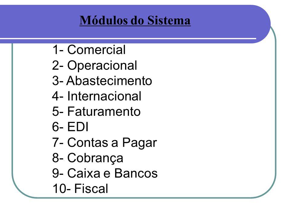 1- Comercial 2- Operacional 3- Abastecimento 4- Internacional 5- Faturamento 6- EDI 7- Contas a Pagar 8- Cobrança 9- Caixa e Bancos 10- Fiscal Módulos do Sistema