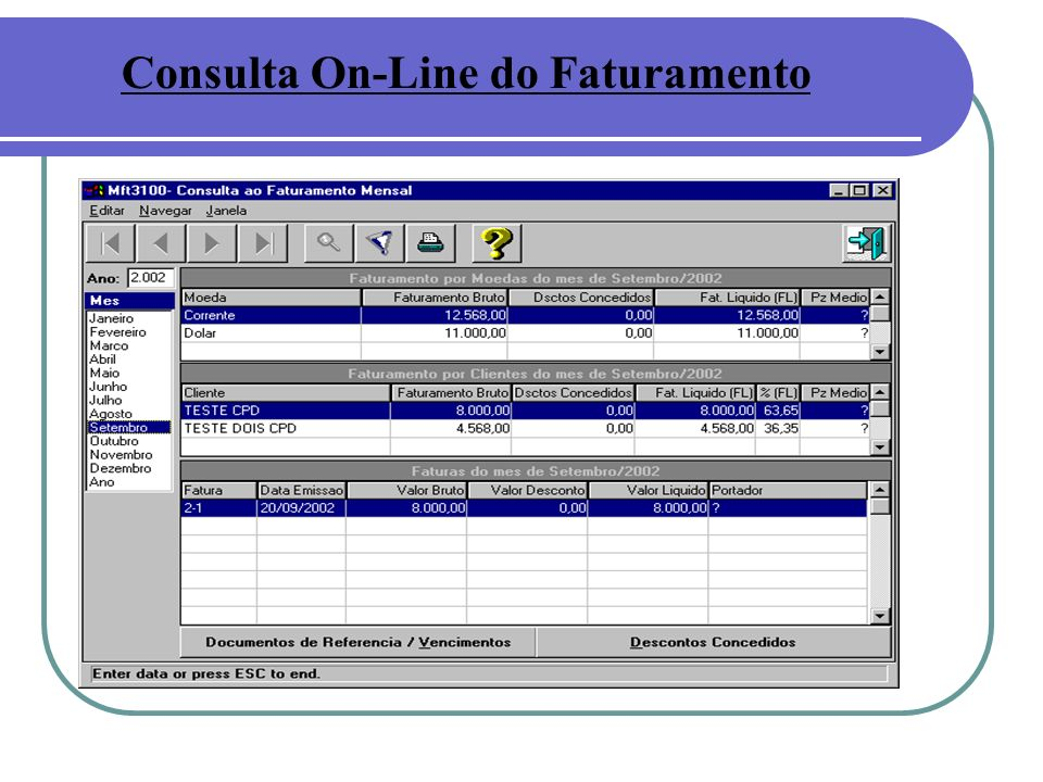 Consulta On-Line do Faturamento