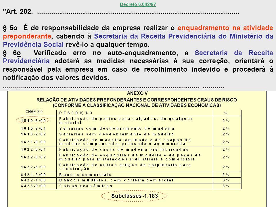 Ministério da Previdência Social Secretaria Executiva ANEXO V RELAÇÃO DE ATIVIDADES PREPONDERANTES E CORRESPONDENTES GRAUS DE RISCO (CONFORME A CLASSI