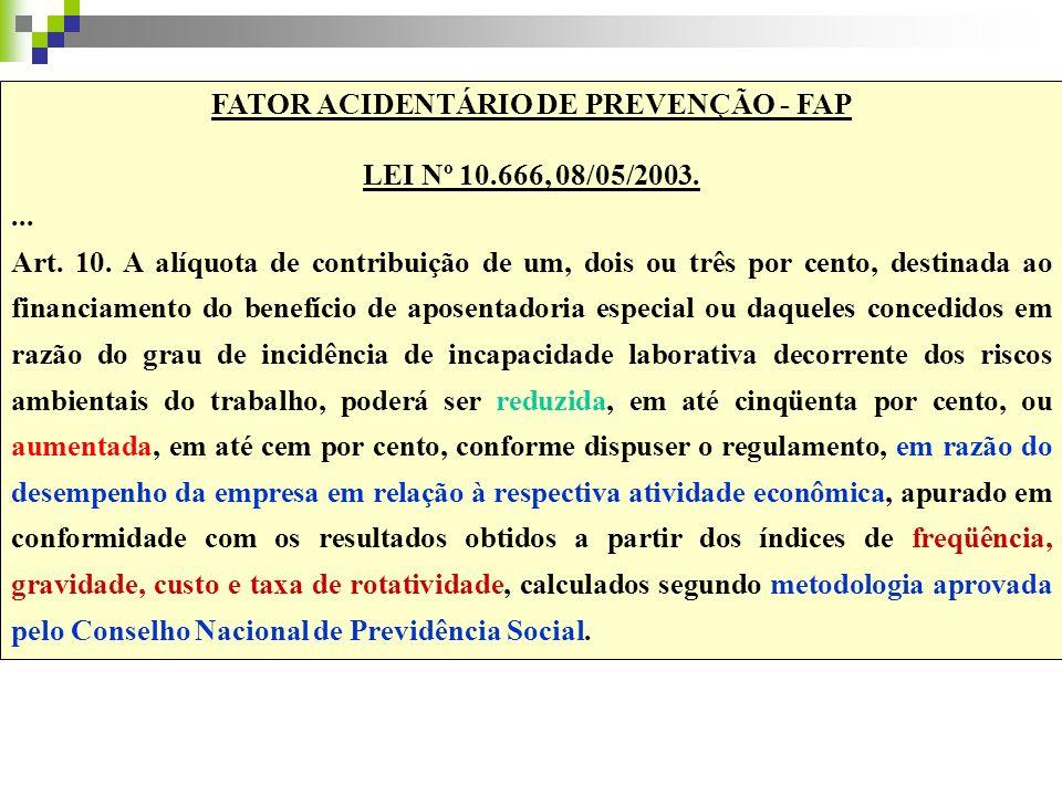 FATOR ACIDENTÁRIO DE PREVENÇÃO - FAP LEI Nº 10.666, 08/05/2003.... Art. 10. A alíquota de contribuição de um, dois ou três por cento, destinada ao fin
