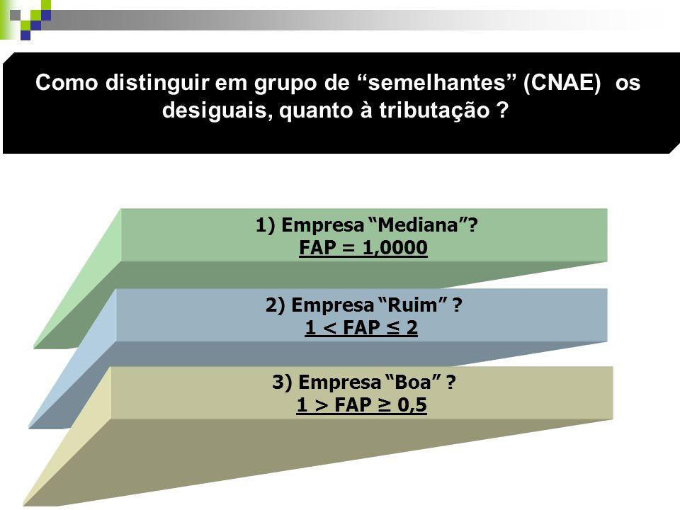 1) Empresa Mediana? FAP = 1,0000 2) Empresa Ruim ? 1 < FAP 2 3) Empresa Boa ? 1 > FAP 0,5 Como distinguir em grupo de semelhantes (CNAE) os desiguais,