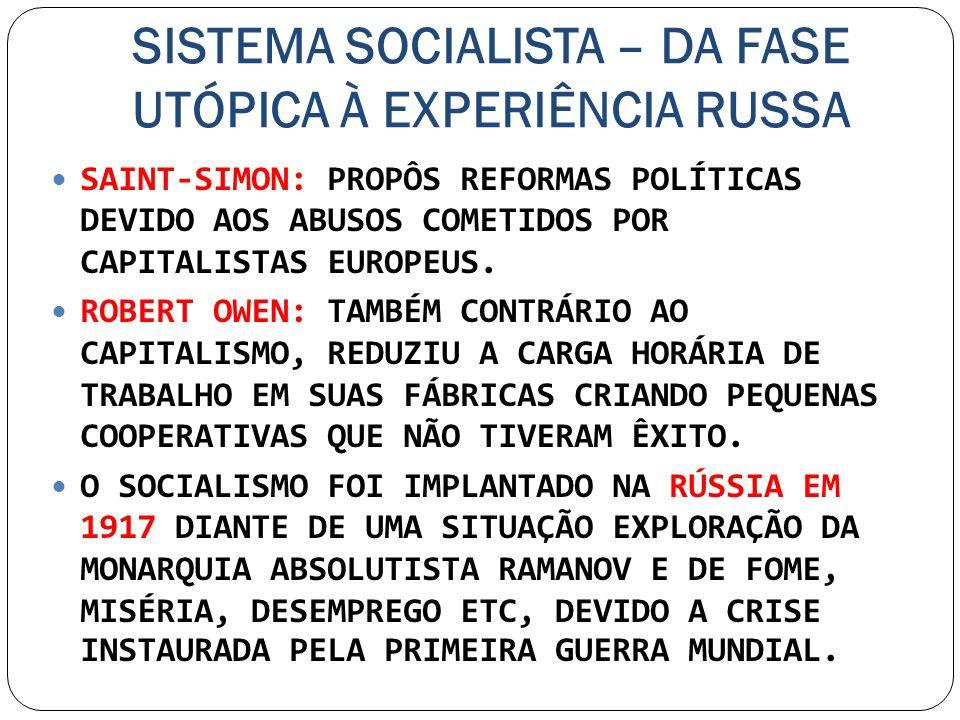 SISTEMA SOCIALISTA – DA FASE UTÓPICA À EXPERIÊNCIA RUSSA SAINT-SIMON: PROPÔS REFORMAS POLÍTICAS DEVIDO AOS ABUSOS COMETIDOS POR CAPITALISTAS EUROPEUS.