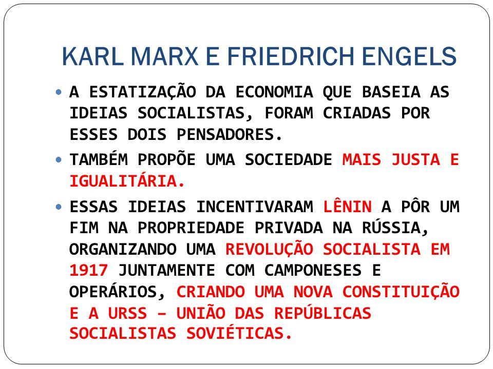 KARL MARX E FRIEDRICH ENGELS A ESTATIZAÇÃO DA ECONOMIA QUE BASEIA AS IDEIAS SOCIALISTAS, FORAM CRIADAS POR ESSES DOIS PENSADORES. TAMBÉM PROPÕE UMA SO