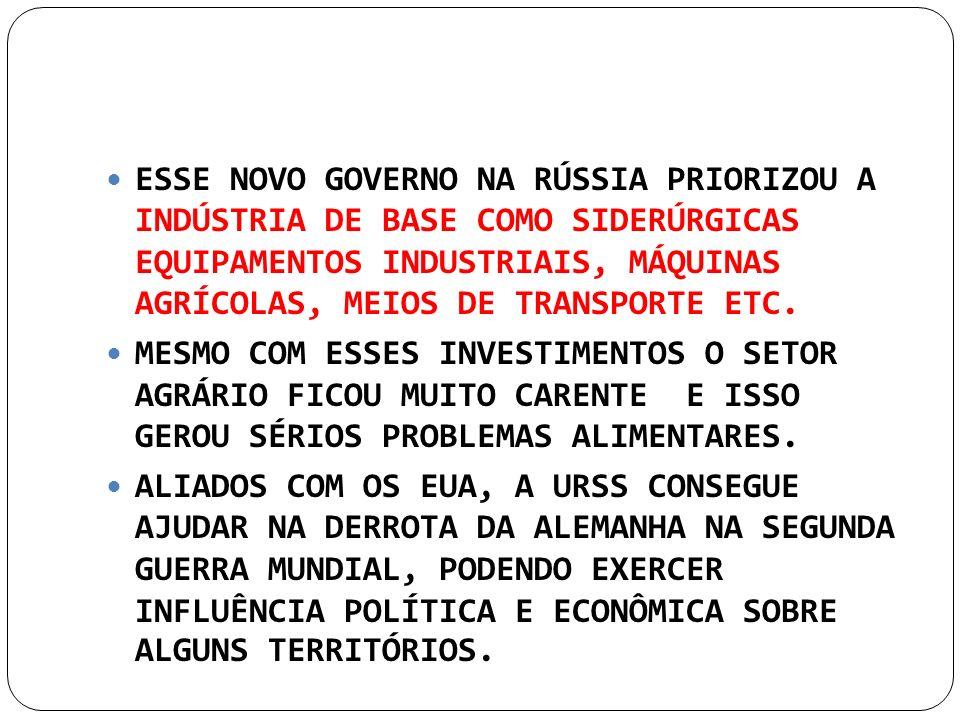 ESSE NOVO GOVERNO NA RÚSSIA PRIORIZOU A INDÚSTRIA DE BASE COMO SIDERÚRGICAS EQUIPAMENTOS INDUSTRIAIS, MÁQUINAS AGRÍCOLAS, MEIOS DE TRANSPORTE ETC. MES