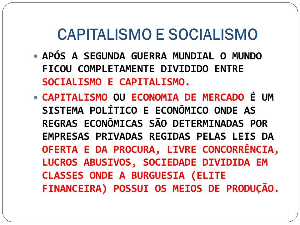 CAPITALISMO E SOCIALISMO APÓS A SEGUNDA GUERRA MUNDIAL O MUNDO FICOU COMPLETAMENTE DIVIDIDO ENTRE SOCIALISMO E CAPITALISMO. CAPITALISMO OU ECONOMIA DE