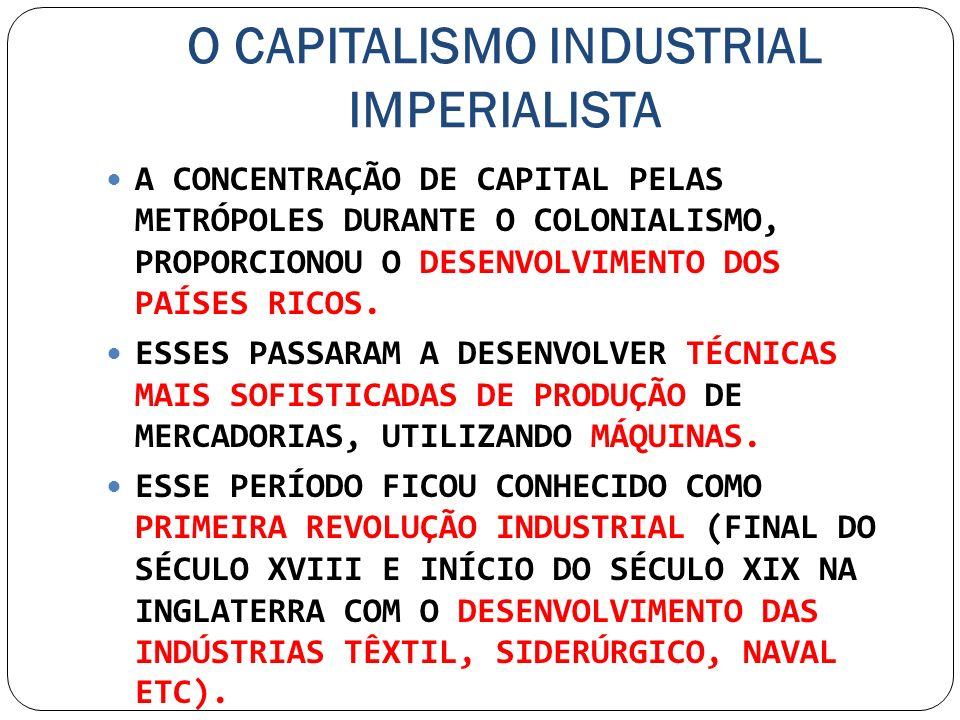 O CAPITALISMO INDUSTRIAL IMPERIALISTA A CONCENTRAÇÃO DE CAPITAL PELAS METRÓPOLES DURANTE O COLONIALISMO, PROPORCIONOU O DESENVOLVIMENTO DOS PAÍSES RIC