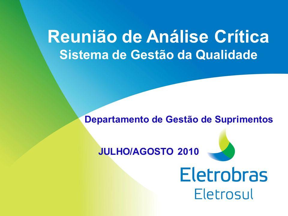 Reunião de Análise Crítica Sistema de Gestão da Qualidade JULHO/AGOSTO 2010 Departamento de Gestão de Suprimentos