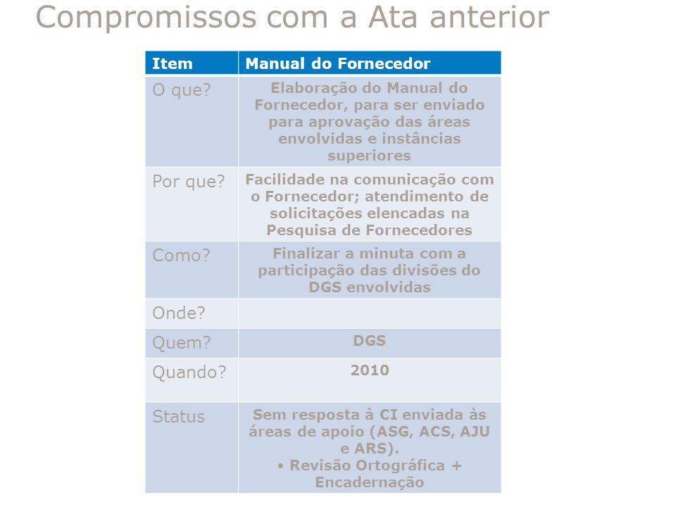 ItemManual do Fornecedor O que? Elaboração do Manual do Fornecedor, para ser enviado para aprovação das áreas envolvidas e instâncias superiores Por q