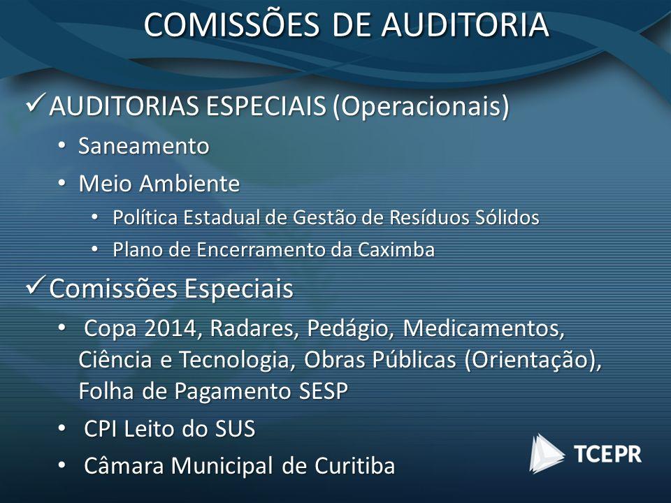 COMISSÕES DE AUDITORIA AUDITORIAS ESPECIAIS (Operacionais) AUDITORIAS ESPECIAIS (Operacionais) Saneamento Saneamento Meio Ambiente Meio Ambiente Polít