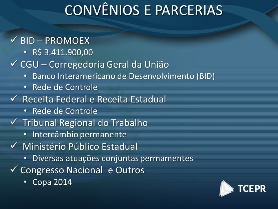 CONVÊNIOS E PARCERIAS BID – PROMOEX BID – PROMOEX R$ 3.411.900,00 R$ 3.411.900,00 CGU – Corregedoria Geral da União CGU – Corregedoria Geral da União
