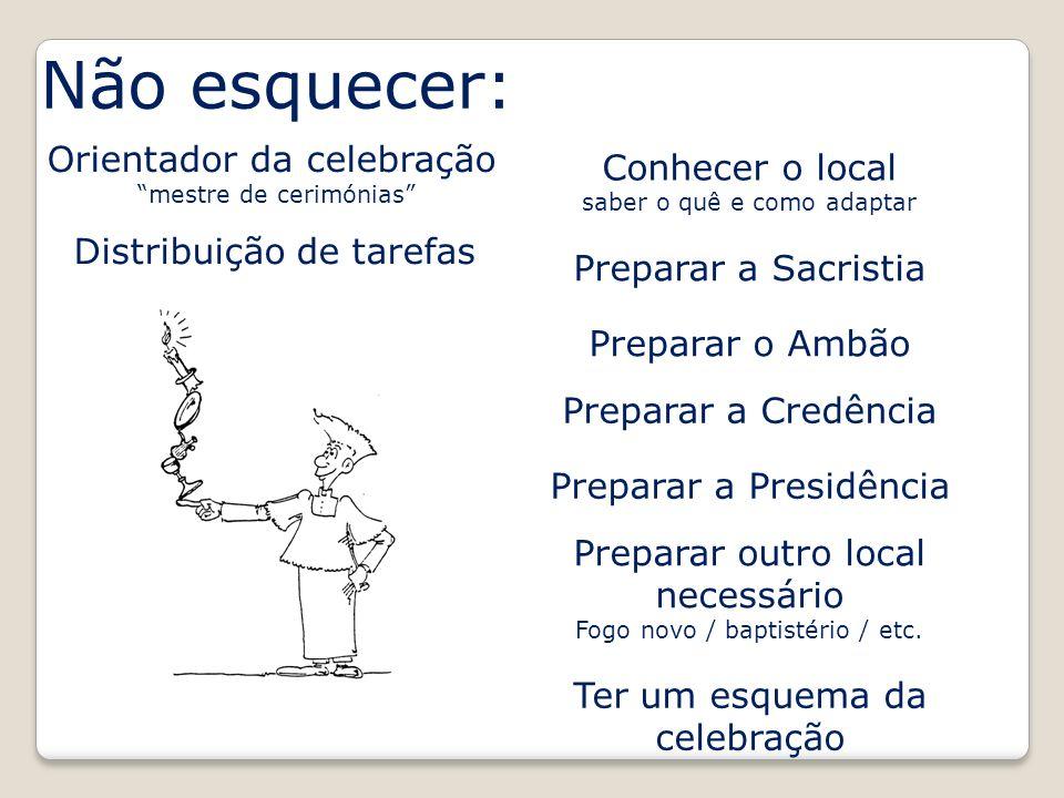 Não esquecer: Preparar a Sacristia Orientador da celebração mestre de cerimónias Preparar o Ambão Preparar a Credência Preparar a Presidência Preparar