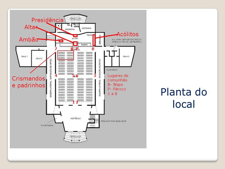 Planta do local 12 3456 78BP Acólitos Presidência Altar Crismandos e padrinhos Ambão Lugares de comunhão B- Bispo P- Pároco 1 a 8