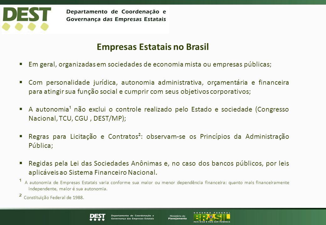 Empresas Estatais no Brasil Em geral, organizadas em sociedades de economia mista ou empresas públicas; Com personalidade jurídica, autonomia administ