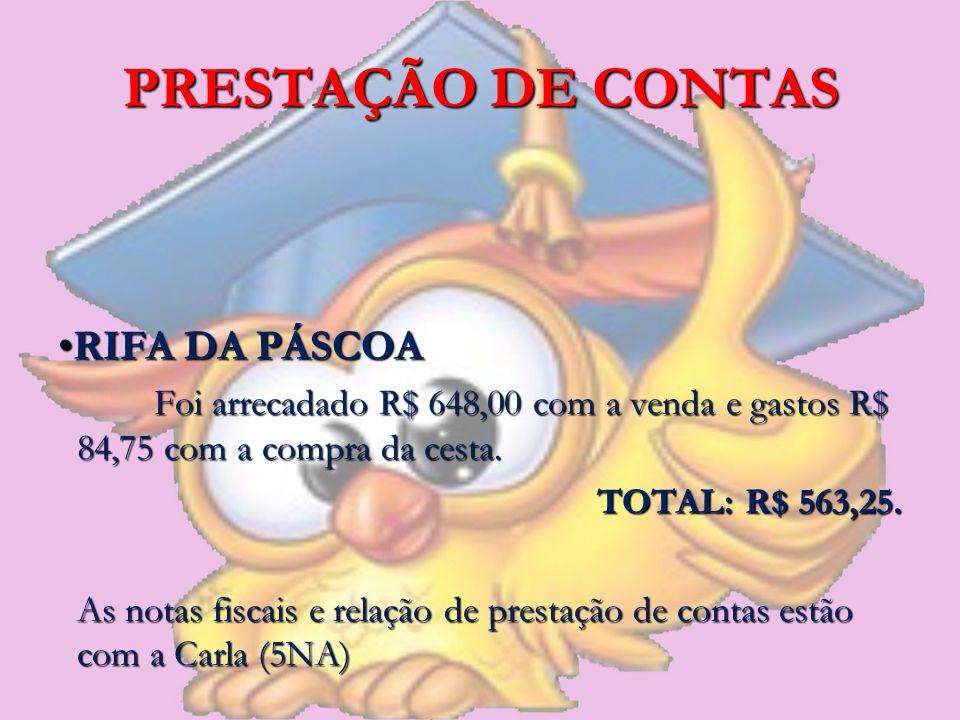 PRESTAÇÃO DE CONTAS RIFA DA PÁSCOARIFA DA PÁSCOA Foi arrecadado R$ 648,00 com a venda e gastos R$ 84,75 com a compra da cesta. TOTAL: R$ 563,25. As no