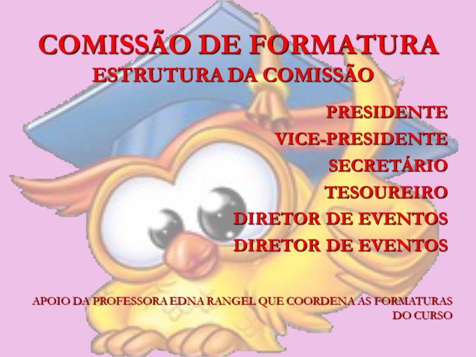 COMISSÃO DE FORMATURA PRESIDENTEVICE-PRESIDENTESECRETÁRIOTESOUREIRO DIRETOR DE EVENTOS ESTRUTURA DA COMISSÃO APOIO DA PROFESSORA EDNA RANGEL QUE COORD