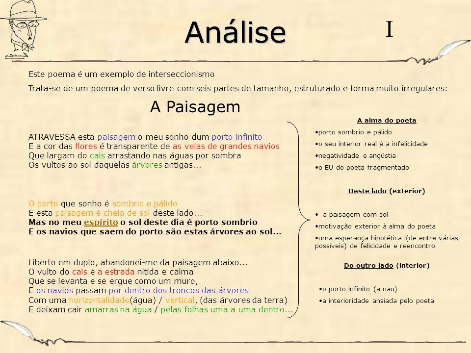 Análise Este poema é um exemplo de interseccionismo Trata-se de um poema de verso livre com seis partes de tamanho, estruturado e forma muito irregula