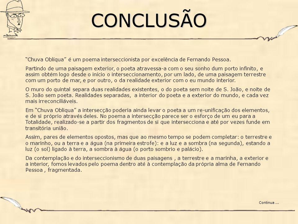 CONCLUSÃO Chuva Oblíqua é um poema interseccionista por excelência de Fernando Pessoa. Partindo de uma paisagem exterior, o poeta atravessa-a com o se