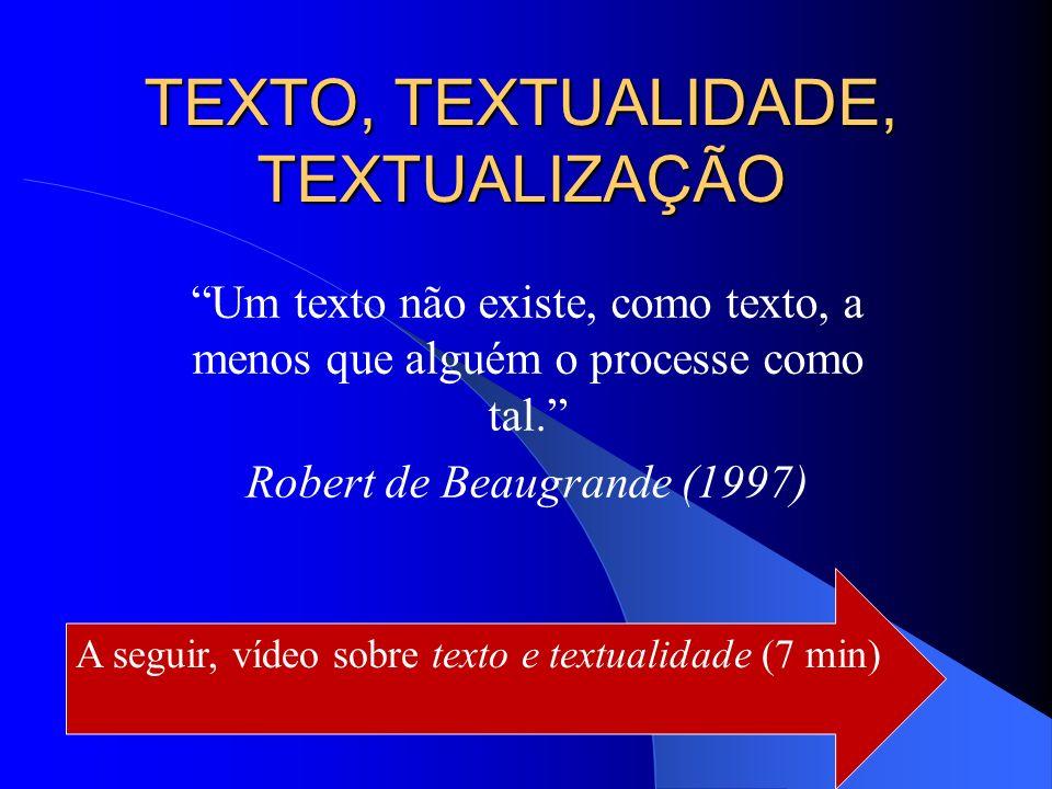TEXTO, TEXTUALIDADE, TEXTUALIZAÇÃO Um texto não existe, como texto, a menos que alguém o processe como tal. Robert de Beaugrande (1997) A seguir, víde