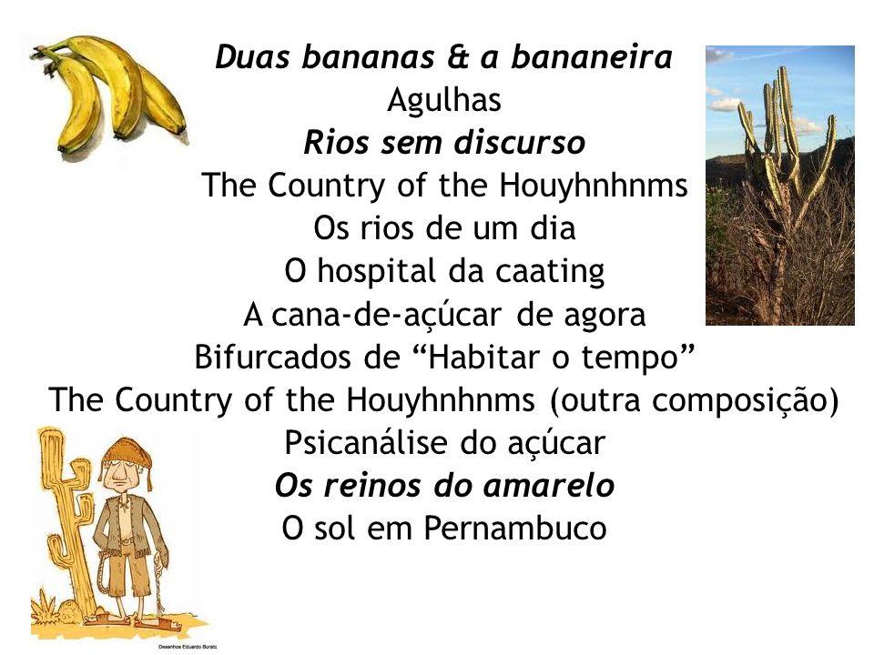 Duas bananas & a bananeira Agulhas Rios sem discurso The Country of the Houyhnhnms Os rios de um dia O hospital da caating A cana-de-açúcar de agora B