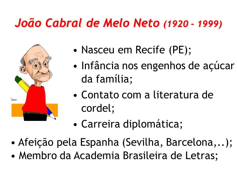 João Cabral de Melo Neto (1920 - 1999) Nasceu em Recife (PE); Infância nos engenhos de açúcar da família; Contato com a literatura de cordel; Carreira